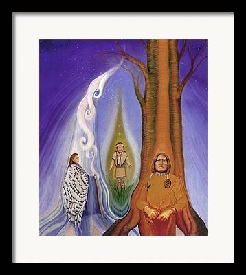 Native American Spirit Portrait Drawings Framed Prints