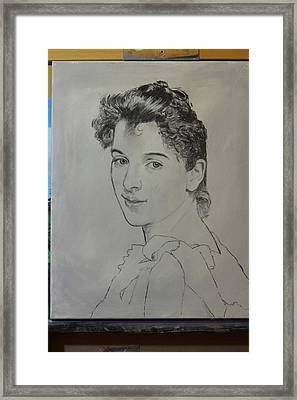 Framed Print featuring the painting drawing for Gabrielle Cot portrait by Glenn Beasley