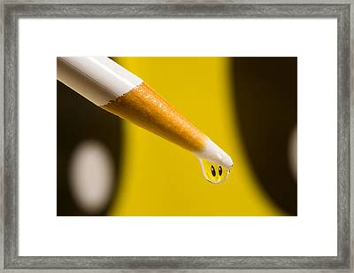Happy Water Drop Pencil Framed Print