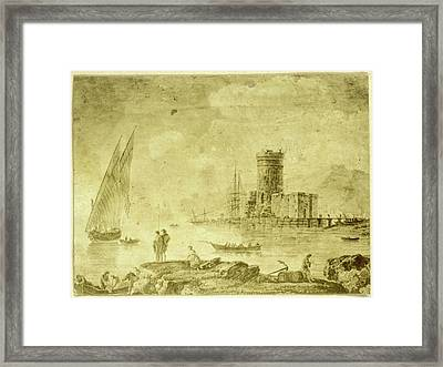 Drawing La Mer Calme With Ship On Calm Water Framed Print