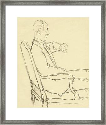 Drawing Of Man Looking At His Watch Framed Print