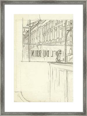 Drawing Of A Bar And Front Window Of Hotel Du Rhin Framed Print