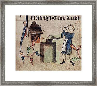 Drawing Of A Blacksmith At Work Framed Print by British Library