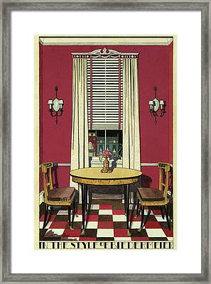 Drawing Of A Breakfast Room Framed Print by Harry Richardson