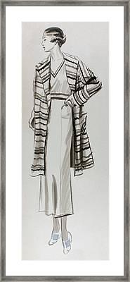 Drawing Of A Model Wearing Tennis Dress Framed Print by  Lemon