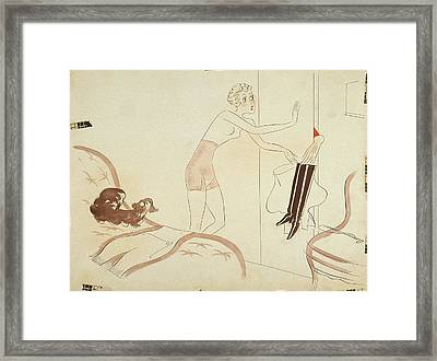Drawing Of A Woman In A Girdle Reaching For Boots Framed Print by Eduardo Garcia Benito