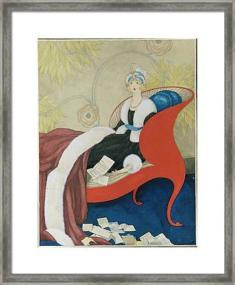 Drawing Of A Woman On A Chaise Surrounded Framed Print by George Wolfe Plank