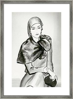 Drawing Of A Woman Wearing A Lucien Lelong Framed Print
