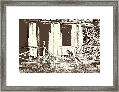 Drawing Of An Old House With Porch In Brown 3000.04 Framed Print by M K  Miller