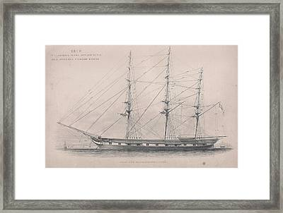 Drawing Of An Old Ship Framed Print