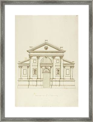 Drawing Of Elevation Of Italian Building Framed Print by British Library