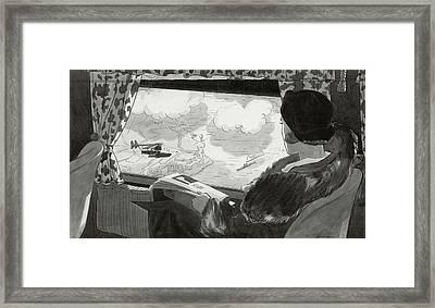 Drawing Of Female Passenger Flying Over Havana Framed Print by  Lemon