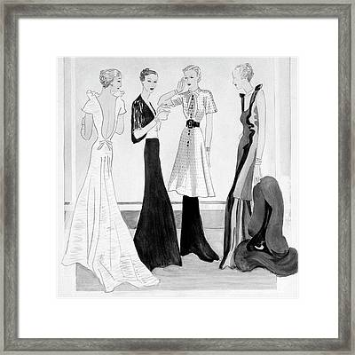 Drawing Of Four Well-dressed Women Framed Print by Eduardo Garcia Benito