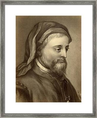 Drawing Of Geoffrey Chaucer Framed Print by Underwood Archives