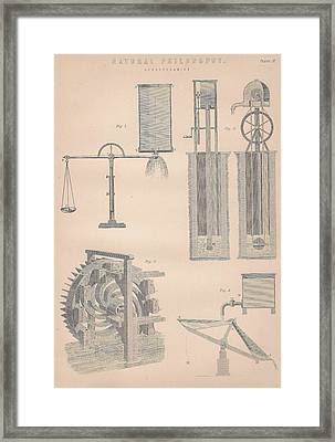 Drawing Of Hydrodynamics Framed Print by Anon
