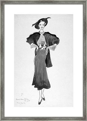 Drawing Of Model Wearing Marcel Rochas Dress Framed Print by Cecil Beaton