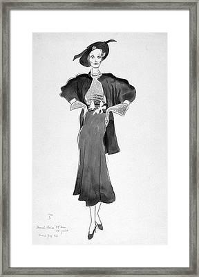Drawing Of Model Wearing Marcel Rochas Dress Framed Print
