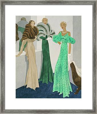 Drawing Of Models Wearing Wool Evening Dresses Framed Print by Eduardo Garcia Benito