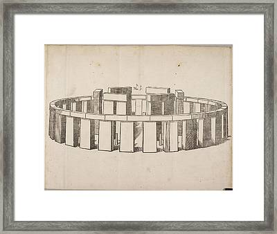 Drawing Of Stonehenge Framed Print by British Library