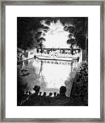 Drawing Of The Gala Blanc At The Fauchier-magnan Framed Print by Jean Pag?s