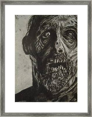 Drawing Of The Walking Dead Zombie Framed Print