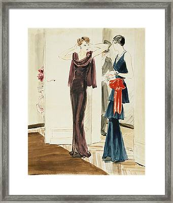 Drawing Of Two Women Wearing Mainbocher Dresses Framed Print