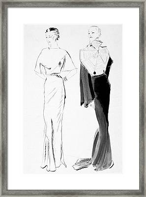 Drawing Of Women In Evening Wear Framed Print by Rene Bouet-Willaumez