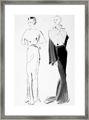Drawing Of Women In Evening Wear Framed Print by Ren? Bou?t-Willaumez
