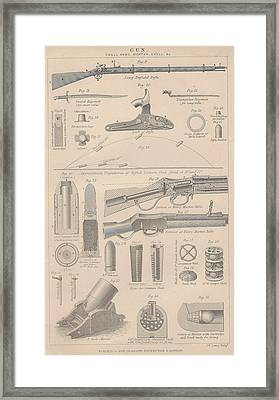 Drawings Of Gun Parts Framed Print by Anon