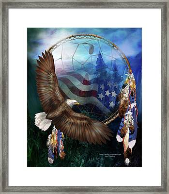Dream Catcher - Freedom's Flight Framed Print by Carol Cavalaris