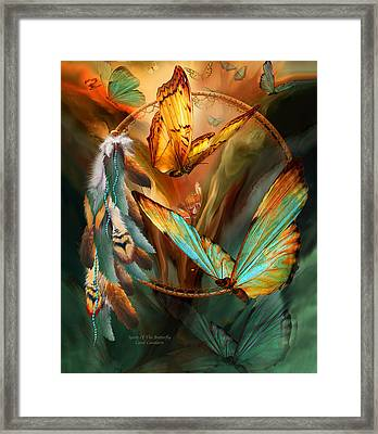 Dream Catcher - Spirit Of The Butterfly Framed Print by Carol Cavalaris