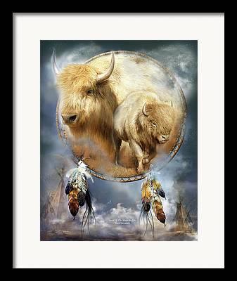 American Bison Mixed Media Framed Prints