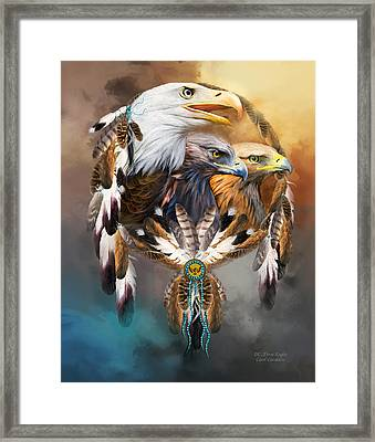 Dream Catcher - Three Eagles Framed Print by Carol Cavalaris