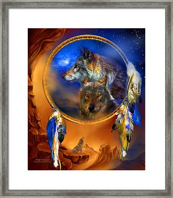 Dream Catcher - Wolf Dreams Framed Print by Carol Cavalaris