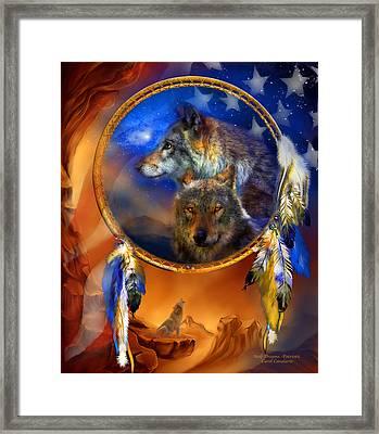 Dream Catcher - Wolf Dreams Patriotic Framed Print by Carol Cavalaris