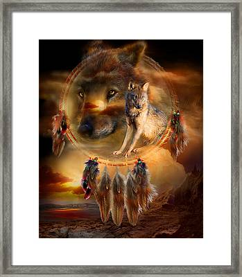 Dream Catcher - Wolfland Framed Print by Carol Cavalaris