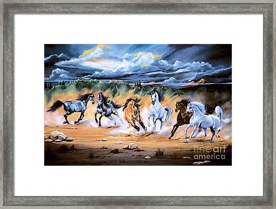 Dream Horse Series 125 - Flat Bottom River Wild Horse Herd Framed Print