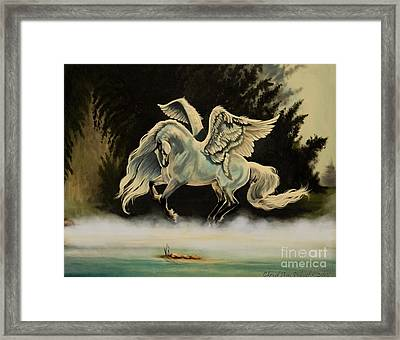 Dream Horse Series #206- A Pegasus In The Mist  Framed Print