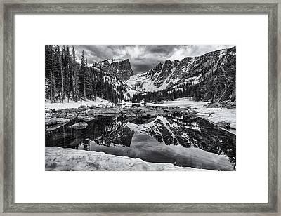 Dream Lake Morning Monochrome Framed Print