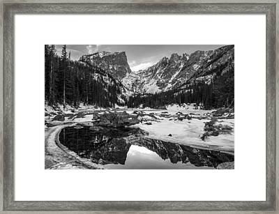 Dream Lake Reflection Black And White Framed Print