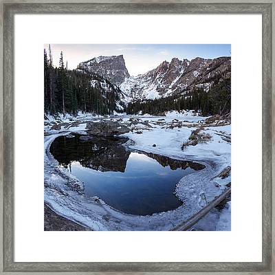 Framed Print featuring the photograph Dream Lake Reflection Square Format by Aaron Spong