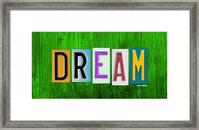 Dream License Plate Letter Vintage Phrase Artwork On Green Framed Print by Design Turnpike
