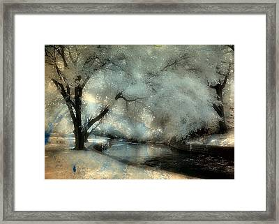Dreamy Trees By The Stream Framed Print