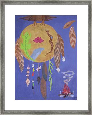 Framed Print featuring the painting Dream Spirit Shield by Ellen Levinson