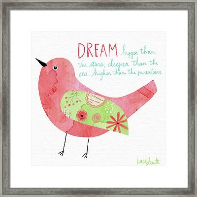 Dream Watercolor Bird Framed Print by Katie Doucette