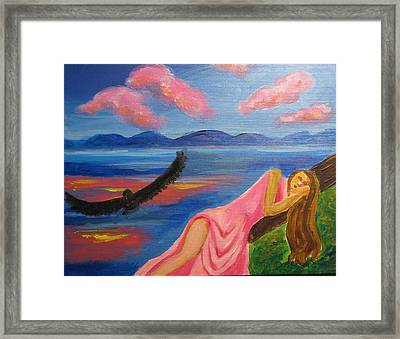 Framed Print featuring the painting Dreaming At Eagle Lake by Diana Riukas