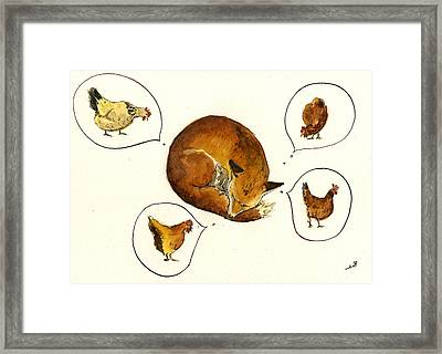 Dreaming Fox Framed Print by Juan  Bosco