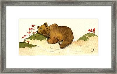 Dreaming Grizzly Bear Framed Print by Juan  Bosco