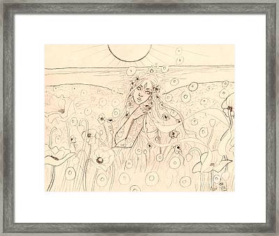 Poppy Dreams Sketch Framed Print by Coriander  Shea