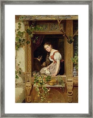 Dreaming On The Windowsill Framed Print by August Friedrich Siegert